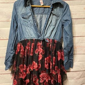 Justice Denim and Floral Dress size 18